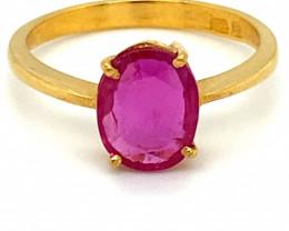 GIA Certified Tajik Ruby 1.50ct Solid 22K Yellow Gold Solitaire Ring Apprai