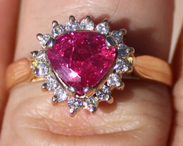 GIA Certified Untreated Ruby 2.08ct Diamonds 18K Solid Yellow Gold Cocktail