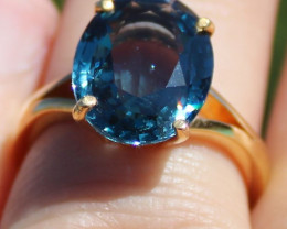 GIA Certified Blue Spinel 6.11ct Solid 22K Yellow Gold Solitaire Ring