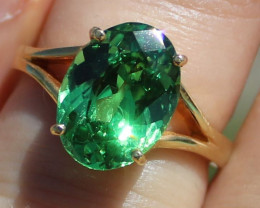 GIA Certified Tsavorite Garnet 5.02ct Solid 22K Yellow Gold Solitaire Ring