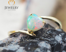 Gem Quality Heart 14K Yellow Gold Opal Ring - OPJ 2429