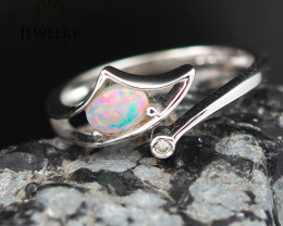 Gem Quality 18K White Gold Opal & Diamond Ring - OPJ 2432