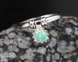 Boho Gem Quality 18K White Gold Opal Ring - OPJ 2433