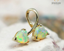 Gem Quality Double Heart 9K Yellow Gold Opal Pendant - OPJ 2434