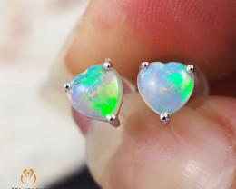 Modern Cute Crystal Heart Opal 14k White Gold Earrings - OPJ 2438