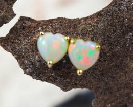 Modern Cute Crystal Heart Opal 14k Yellow Gold Earrings - OPJ 2439
