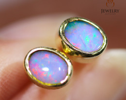 Modern Cute Opal 18k Yellow Gold Earrings - OPJ 2440