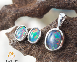 OPAL TRIPLET SET in Silver : Pendant & Earrings - OPJ 2442