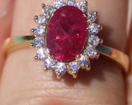 GIA Certified Burmese Ruby 1.70ct Natural Diamonds Solid 18K Yellow Gold Co