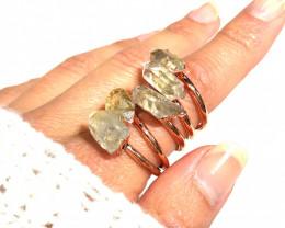 5 Raw Crystal Beautiful terminated Gemstone Copper Ring BR 376