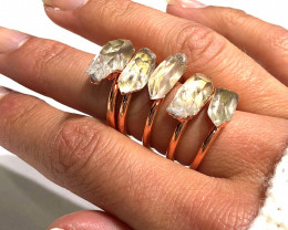 5 Raw Crystal Beautiful terminated Gemstone Copper Ring BR 378