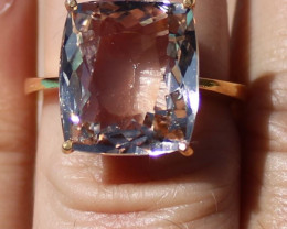 GIA Certified Imperial Topaz 14.39ct Solid 22K Yellow Gold Solitaire Ring