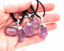 5 Natural Amethyst Gemstone Pendant & Soft Chain BR 383
