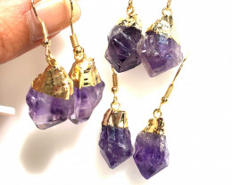 3 x Terminated Point Amethyst Drop Earrings BR 385