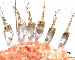 3 x Terminated Point Crystal Gemstone Drop Earrings BR 386