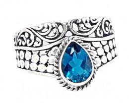 Beautiful Swiss Topaz Ring 925 Sterling Silver (JE21)