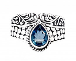 Beautiful Swiss Topaz Ring 925 Sterling Silver (JE22)