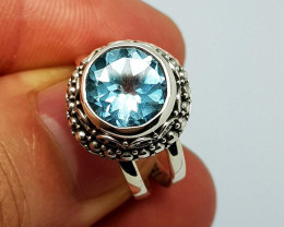 Natural Blue Topaz 29.00 Carats 925 Silver Ring