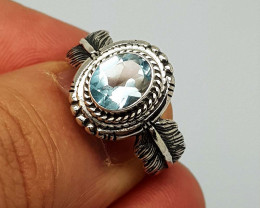 Natural Blue Topaz 19.00 Carats 925 Silver Ring