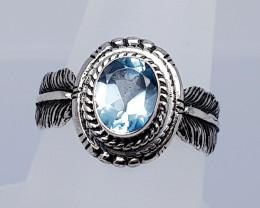 19 Carats Natural Topaz 925 Silver Hand Made Ring