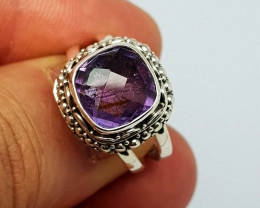 Natural Purple Amethyst 31.65 Carats 925 Silver Ring