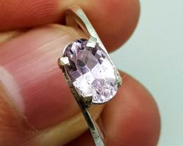 Natural Pink Kunzite 11.35 Carats 925 Silver Ring