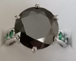 Black Diamond and Emerald Ring 5.56 TCW