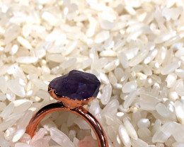 Amethyst Raw Beautiful terminated Gemstone Copper Ring BR 390
