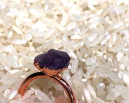 Amethyst Raw Beautiful terminated Gemstone Copper Ring BR 390