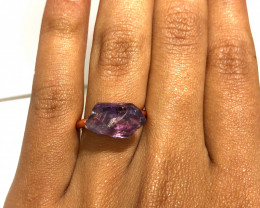 Amethyst Raw Beautiful terminated Gemstone Copper Ring BR 391