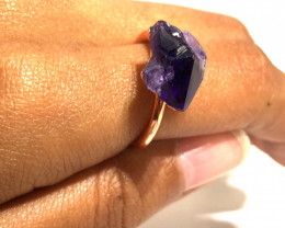 Amethyst Raw Beautiful terminated Gemstone Copper Ring BR 392
