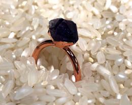 Amethyst Raw Beautiful terminated Gemstone Copper Ring BR 393