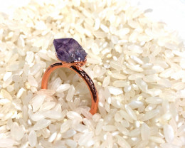 Amethyst Raw Beautiful terminated Gemstone Copper Ring BR 394