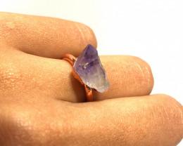 Amethyst Raw Beautiful terminated Gemstone Copper Ring BR 395