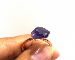 Amethyst Raw Beautiful terminated Gemstone Copper Ring BR 396