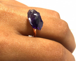 Amethyst Raw Beautiful terminated Gemstone Copper Ring BR 397
