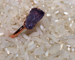 Amethyst Raw Beautiful terminated Gemstone Copper Ring BR 399