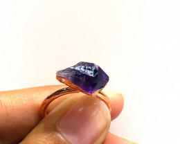 Amethyst Raw Beautiful terminated Gemstone Copper Ring BR 401
