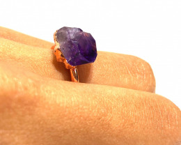 Amethyst Raw Beautiful terminated Gemstone Copper Ring BR 402