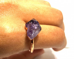 Amethyst Raw Beautiful terminated Gemstone Copper Ring BR 406