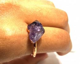 Amethyst Raw Beautiful terminated Gemstone Copper Ring BR 406