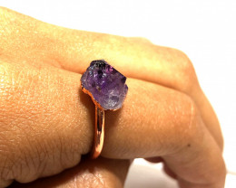 Amethyst Raw Beautiful terminated Gemstone Copper Ring BR 408