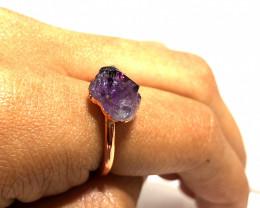 Amethyst Raw Beautiful terminated Gemstone Copper Ring BR 408