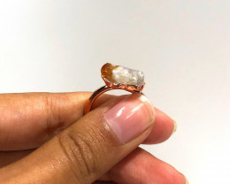 Citrine Raw Beautiful terminated Gemstone Copper Ring BR 409