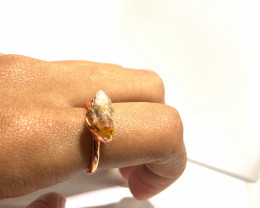 Citrine Raw Beautiful terminated Gemstone Copper Ring BR 411