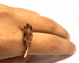 Citrine Raw Beautiful terminated Gemstone Copper Ring BR 414