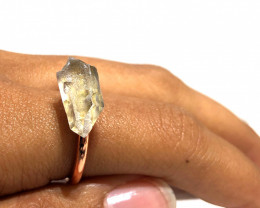 Crystal Raw Beautiful terminated Gemstone Copper Ring BR 422