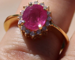 GIA Certified Pink Sapphire 2.67ct, Natural Diamonds, 18K Solid Yellow Gold