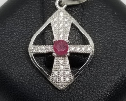 Natural Burma Ruby Silver Pendant With Cubic Zirconia