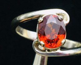 Rare Natural 2.40 cts Spessartine Garnet Transparent Handmade 925 Sterling